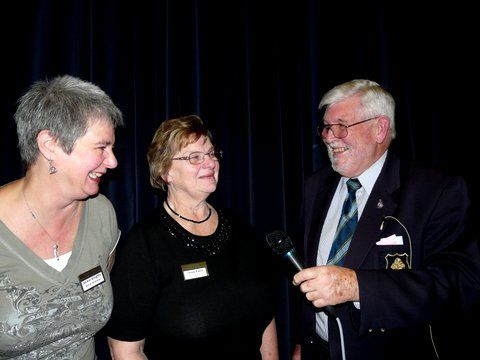 Peter sharing a joke with Chairman, Lesley Raven,and Social Chairman,  Jackie Knights